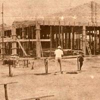 Obras para a construção da sede da APAE-Franca em meados de 1974